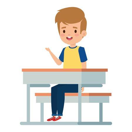 happy student boy seated in school desk vector illustration design Foto de archivo - 133268917