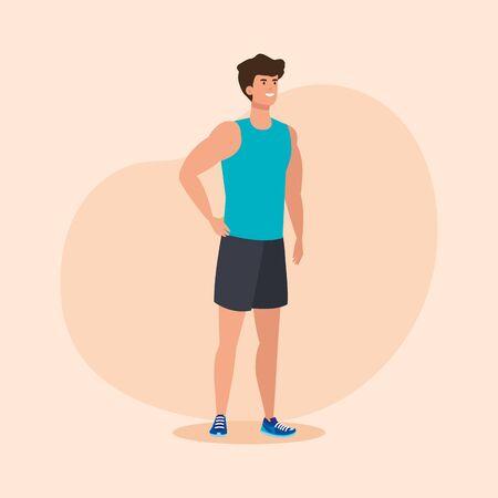 uomo fitness con sana attività sportiva su sfondo rosa, illustrazione vettoriale Vettoriali