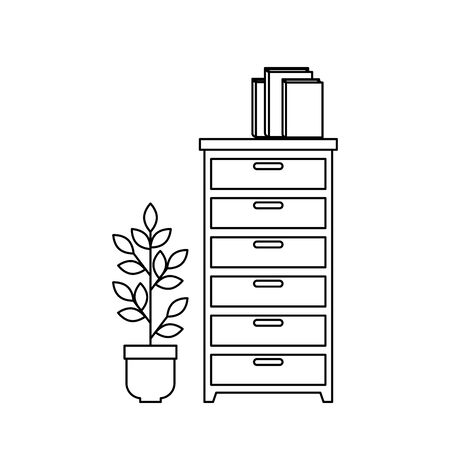 wooden drawer with books and houseplant vector illustration design Ilustração