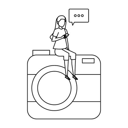 woman using smartphone seated in camera with speech bubble vector illustration