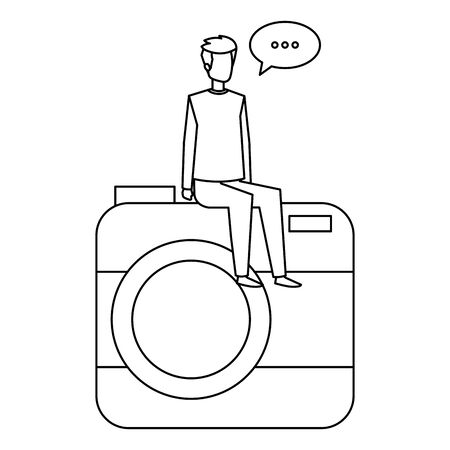 young man seated in camera with speech bubble vector illustration design Ilustração