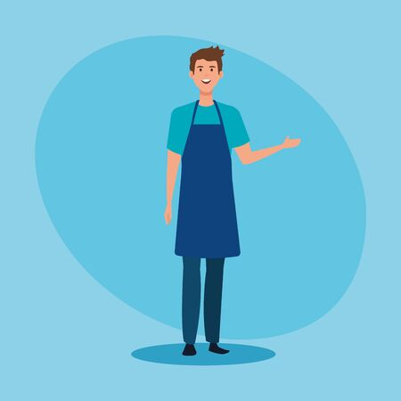 salesman with hairstyle and casual clothes wearing apron over blue background, vector illustration