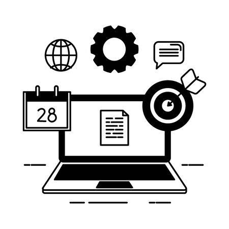 laptop computer with document and icons vector illustration design Ilustração