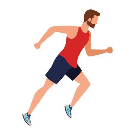 Joven atlético corriendo ilustración Vectorial character design
