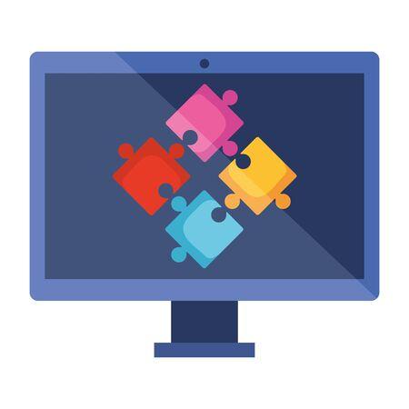 desktop with puzzle game pieces solution vector illustration design Illustration