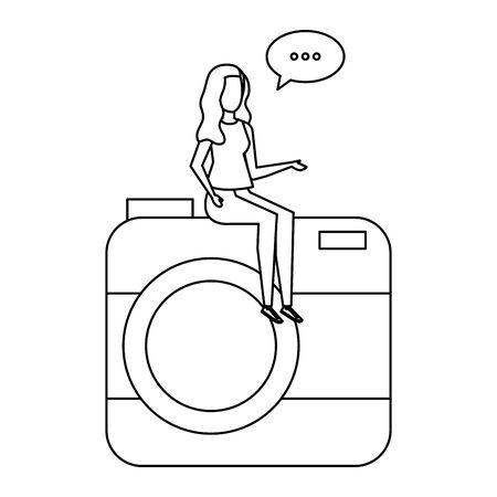 woman seated in camera with speech bubble vector illustration design Ilustração