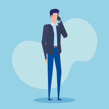 executive businessman with smartphone and elegant clothes over blue background, vector illustration Illusztráció