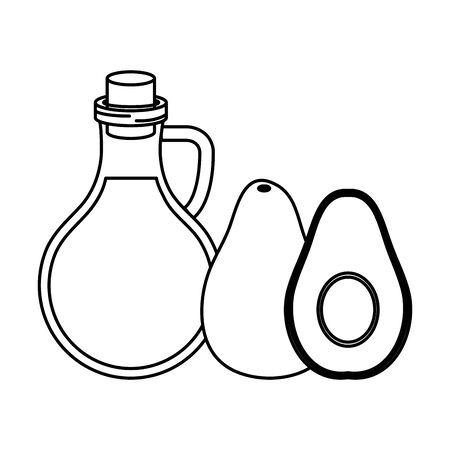 fresh avocado and oil olive healthy food vector illustration design