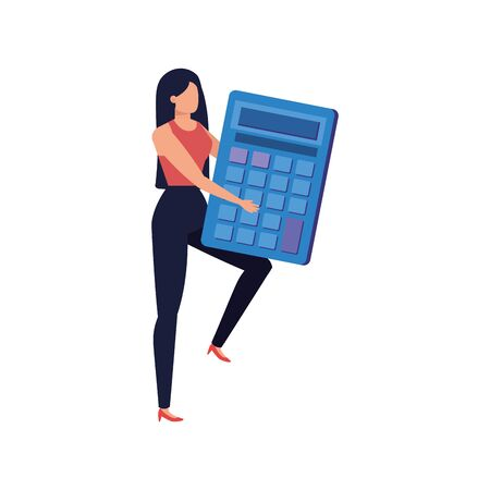 young woman with calculator math character vector illustration design