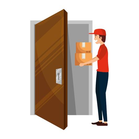 delivery worker lifting boxes with house door vector illustration design