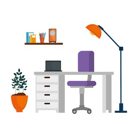 office work place scene with laptop vector illustration design  イラスト・ベクター素材