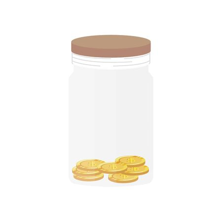 mason jar pot with coins money vector illustration design