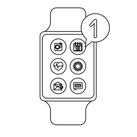 smartwatch with menu applications and speech bubble vector illustration design