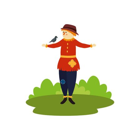 scarecrow with raven bird character fairytale vector illustration design