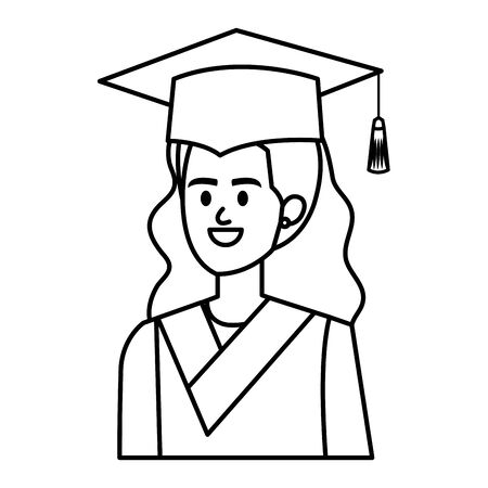 young woman student graduated character vector illustration design