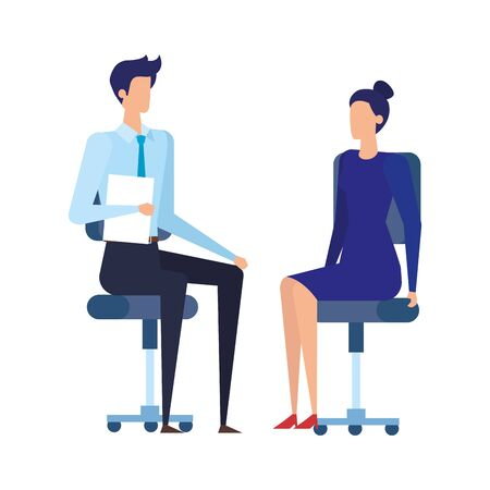 elegant business couple workers in office chairs vector illustration design Vettoriali