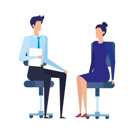 Elegante pareja de trabajadores de negocios en sillas de oficina, diseño de ilustraciones vectoriales