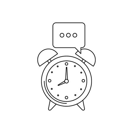 alarm clock watch with speech bubble vector illustration design