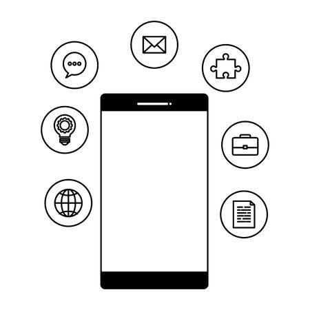 smartphone device with social media icons vector illustration design Standard-Bild - 133250924