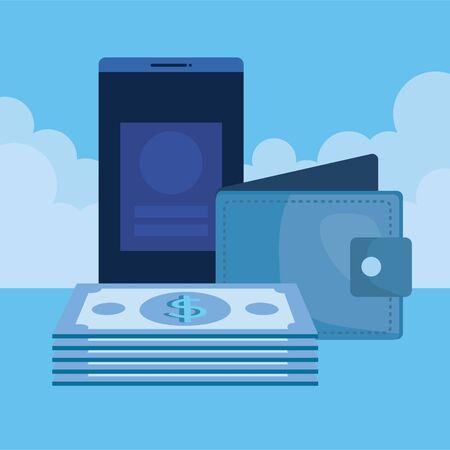 bills money dollars with wallet and smartphone vector illustration design Illustration