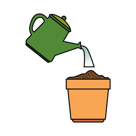 garden water can with plant pot vector illustration design Фото со стока - 133255242