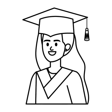 young woman student graduated character vector illustration design Banque d'images - 133251086