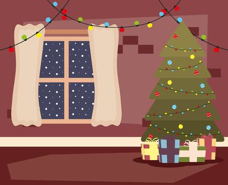 happy merry christmas house place with tree and gifts scene vector illustration design Illustration
