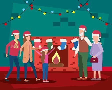 Familienmitglieder, die Weihnachten im Schornsteinvektor-Illustrationsdesign feiern