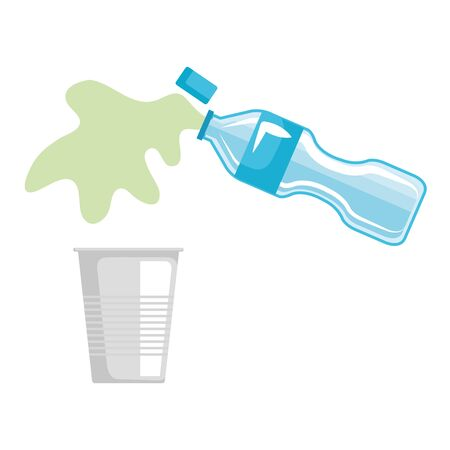 plastic bottle serving liquid in disposable cup vector illustration design