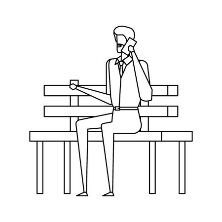 businessman calling with smartphone seated in the park chair vector illustration