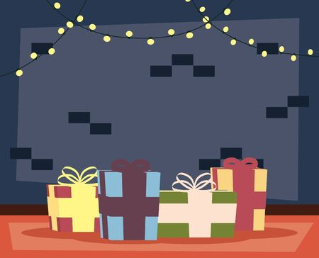 happy merry christmas house place with gifts and lights scene vector illustration design