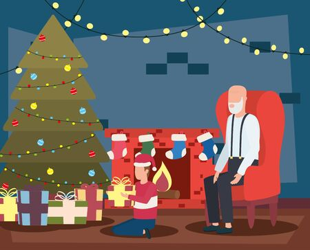 grandfather and grandson celebrating christmas in livingroom with tree vector design