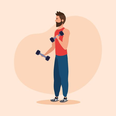 fitness man with dumbbells to practice sport over pink background, vector illustration