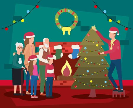 family members celebrating christmas with pine tree vector illustration design