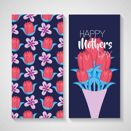 mothers day flowers bouquet banner decoration vector illustration
