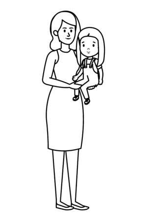 young mother with little daughter vector illustration design Standard-Bild - 133287708