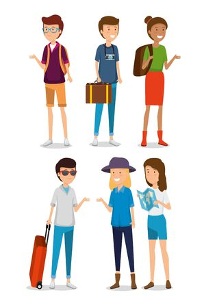 set women and men tourist with baggage travel vector illustration