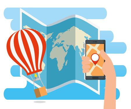 hand with smartphone address location and airballoon vector illustration