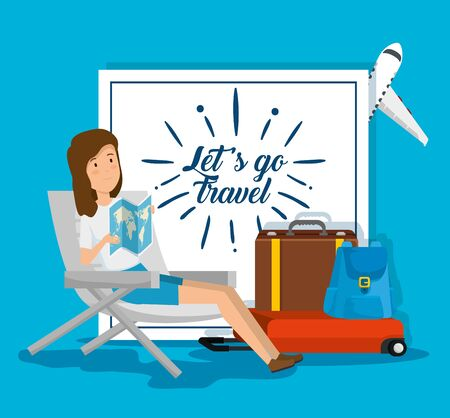 woman seating chair with global map and baggage vector illustration