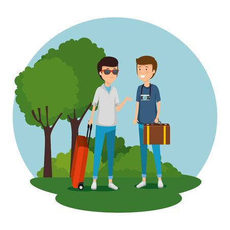 men tourist with suitcase and baggage to travel vector illustration