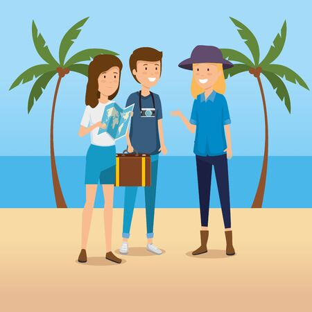 women and man with global map and camera vector illustration