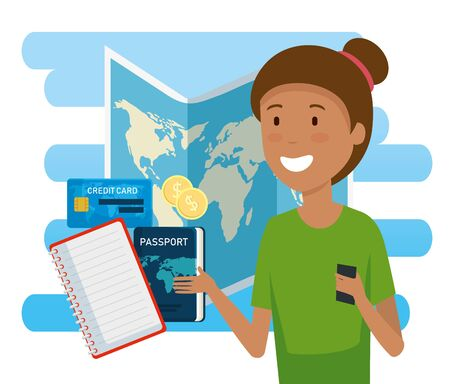 woman tourist with global map and passport vector illustration