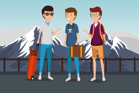 men tourist with suitcase and baggage and snowy mountains vector illustration 일러스트