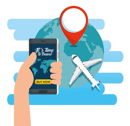 hand with smartphone and eath planet with location sign vector illustration