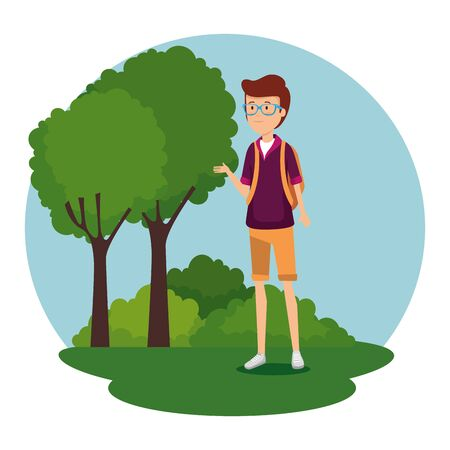 man wearing glasses with backapck and trees with bushes vector illustration