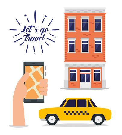 hand with smartphone address and building to travel vector illustration
