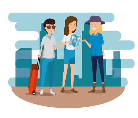women and man with suitcase and global map vector illustration