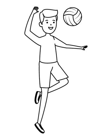 happy athletic boy practicing volleyball vector illustration design