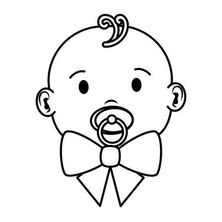 cute little baby boy with pacifier character vector illustration design Ilustração