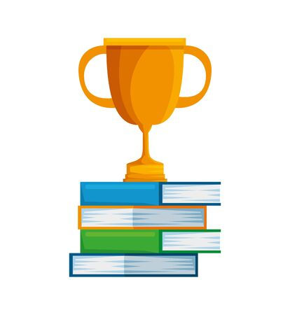 pile text books with trophy cup vector illustration design